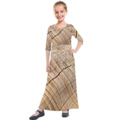 Abstract Brown Tree Timber Pattern Kids  Quarter Sleeve Maxi Dress by Sapixe