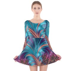 Feather Fractal Artistic Design Long Sleeve Velvet Skater Dress