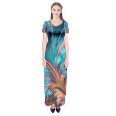 Feather Fractal Artistic Design Short Sleeve Maxi Dress by Sapixe