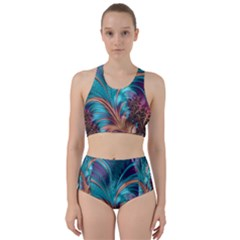 Feather Fractal Artistic Design Racer Back Bikini Set