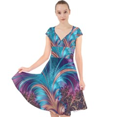 Feather Fractal Artistic Design Cap Sleeve Front Wrap Midi Dress