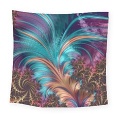 Feather Fractal Artistic Design Square Tapestry (large)