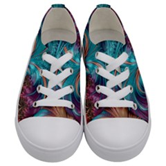 Feather Fractal Artistic Design Kids  Low Top Canvas Sneakers