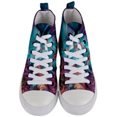 Feather Fractal Artistic Design Women s Mid Top Canvas Sneakers