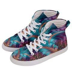 Feather Fractal Artistic Design Women s Hi Top Skate Sneakers by Sapixe