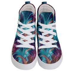 Feather Fractal Artistic Design Kid s Hi Top Skate Sneakers