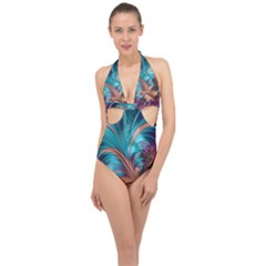 Feather Fractal Artistic Design Halter Front Plunge Swimsuit by Sapixe