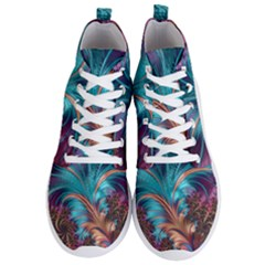Feather Fractal Artistic Design Men s Lightweight High Top Sneakers by Sapixe
