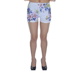 Lily Hand Painted Iris Skinny Shorts