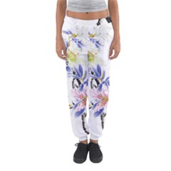 Lily Hand Painted Iris Women s Jogger Sweatpants by Sapixe