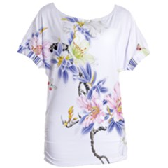Lily Hand Painted Iris Women s Oversized Tee by Sapixe
