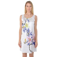 Lily Hand Painted Iris Sleeveless Satin Nightdress by Sapixe