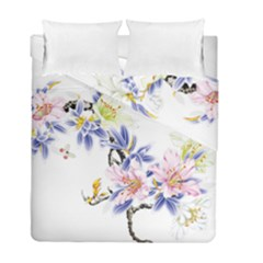 Lily Hand Painted Iris Duvet Cover Double Side (full/ Double Size) by Sapixe