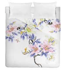 Lily Hand Painted Iris Duvet Cover Double Side (queen Size) by Sapixe