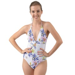 Lily Hand Painted Iris Halter Cut Out One Piece Swimsuit