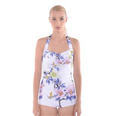 Lily Hand Painted Iris Boyleg Halter Swimsuit  by Sapixe