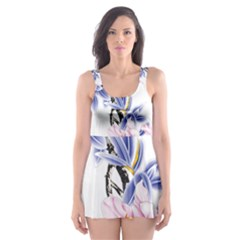 Lily Hand Painted Iris Skater Dress Swimsuit