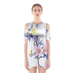 Lily Hand Painted Iris Shoulder Cutout One Piece
