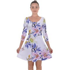 Lily Hand Painted Iris Quarter Sleeve Skater Dress by Sapixe