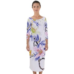 Lily Hand Painted Iris Quarter Sleeve Midi Bodycon Dress by Sapixe