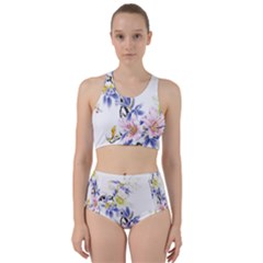 Lily Hand Painted Iris Racer Back Bikini Set by Sapixe