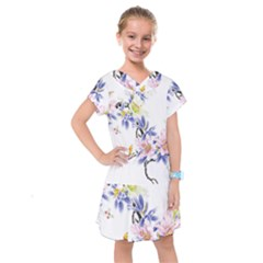 Lily Hand Painted Iris Kids  Drop Waist Dress by Sapixe