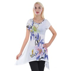 Lily Hand Painted Iris Short Sleeve Side Drop Tunic