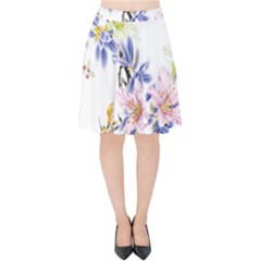 Lily Hand Painted Iris Velvet High Waist Skirt by Sapixe