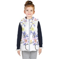 Lily Hand Painted Iris Kid s Hooded Puffer Vest by Sapixe