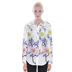 Lily Hand Painted Iris Womens Long Sleeve Shirt