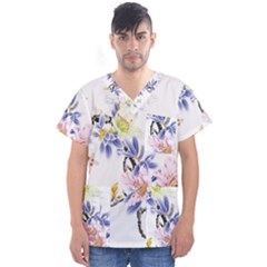Lily Hand Painted Iris Men s V Neck Scrub Top