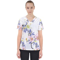 Lily Hand Painted Iris Scrub Top
