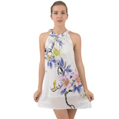 Lily Hand Painted Iris Halter Tie Back Chiffon Dress by Sapixe