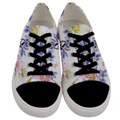 Lily Hand Painted Iris Men s Low Top Canvas Sneakers