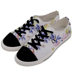 Lily Hand Painted Iris Men s Low Top Canvas Sneakers by Sapixe