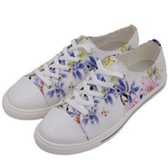 Lily Hand Painted Iris Women s Low Top Canvas Sneakers by Sapixe