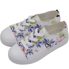 Lily Hand Painted Iris Kids  Low Top Canvas Sneakers by Sapixe