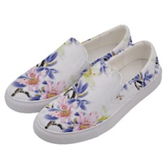 Lily Hand Painted Iris Men s Canvas Slip Ons by Sapixe