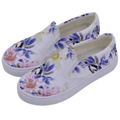 Lily Hand Painted Iris Kids  Canvas Slip Ons by Sapixe