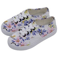 Lily Hand Painted Iris Kids  Classic Low Top Sneakers by Sapixe