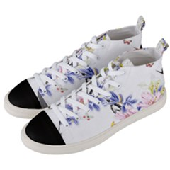 Lily Hand Painted Iris Men s Mid Top Canvas Sneakers by Sapixe
