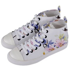 Lily Hand Painted Iris Women s Mid Top Canvas Sneakers by Sapixe