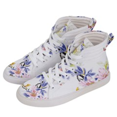 Lily Hand Painted Iris Men s Hi Top Skate Sneakers by Sapixe