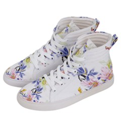 Lily Hand Painted Iris Women s Hi Top Skate Sneakers by Sapixe