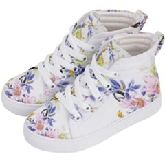 Lily Hand Painted Iris Kid s Hi Top Skate Sneakers by Sapixe