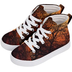 Sunset Silhouette Winter Tree Kids  Hi-top Skate Sneakers by LoolyElzayat