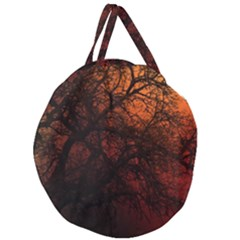 Sunset Silhouette Winter Tree Giant Round Zipper Tote