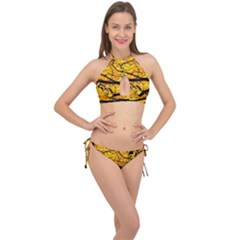 Golden Vein Cross Front Halter Bikini Set