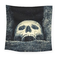 Smiling Skull Square Tapestry (large) by FunnyCow