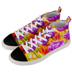 Tulip Flowers Men s Mid Top Canvas Sneakers by FunnyCow